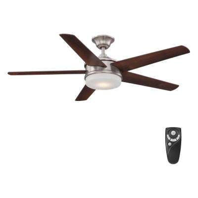 Davrick 52 in. LED Indoor Brushed Nickel Ceiling Fan with Light Kit and Remote Control