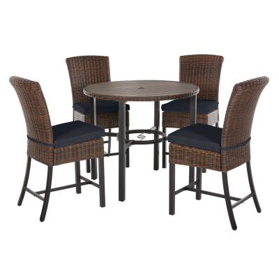 Harper Creek 5-Piece Brown Steel Outdoor Patio Bar Height Dining Set with CushionGuard Midnight Navy Blue Cushions