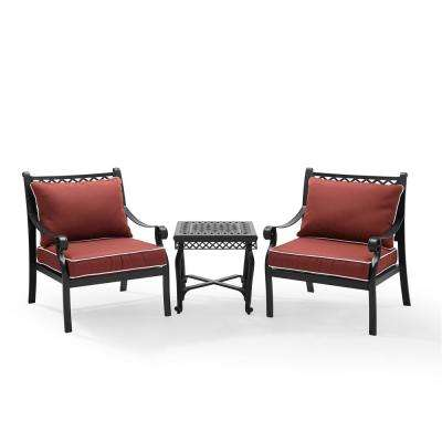 Portofino 3 Piece Cast Aluminum Conversation Set with Sangria Cushions