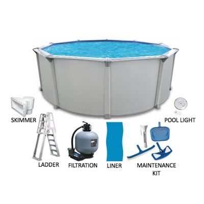 Huntington 21 ft. Round 54 in. Deep Hard Side Metal Wall Above Ground Pool Package