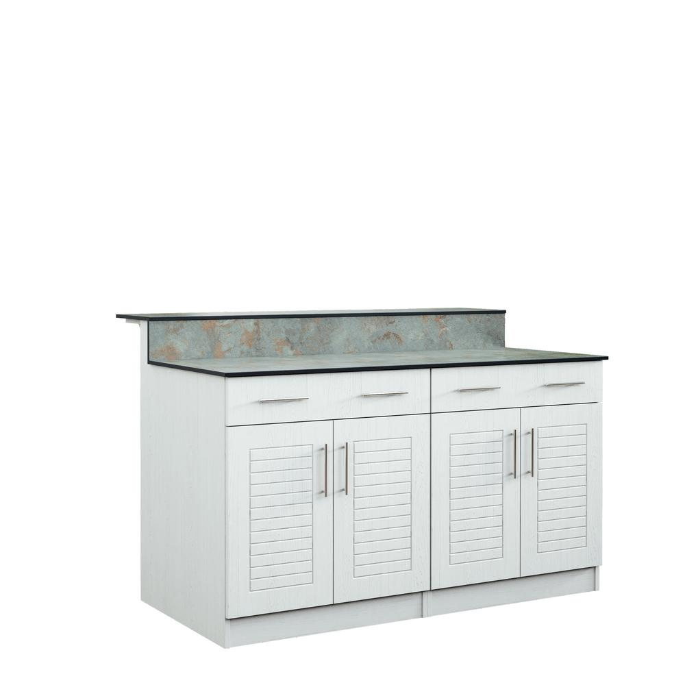 Key West 59.5 in. Outdoor Bar Cabinets with Countertops 4 Door