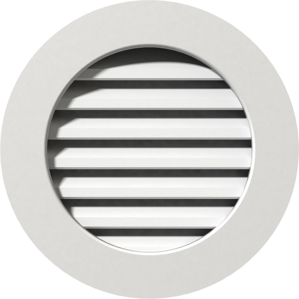 Ekena Millwork 21 in. x 21 in. PVC Functional Round Gable Vent with ...