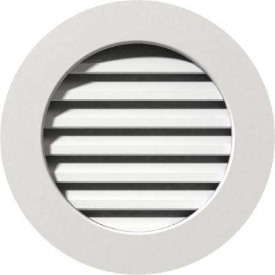 27 in. x 27 in. PVC Functional Round Gable Vent with Flat Trim Frame Unfinished (22 in. x 22 in. Rough Opening)