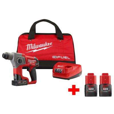 M12 FUEL 12-Volt Lithium-Ion 5/8 in. Brushless Cordless SDS-Plus Rotary Hammer Kit With Two Free M12 1.5Ah Batteries