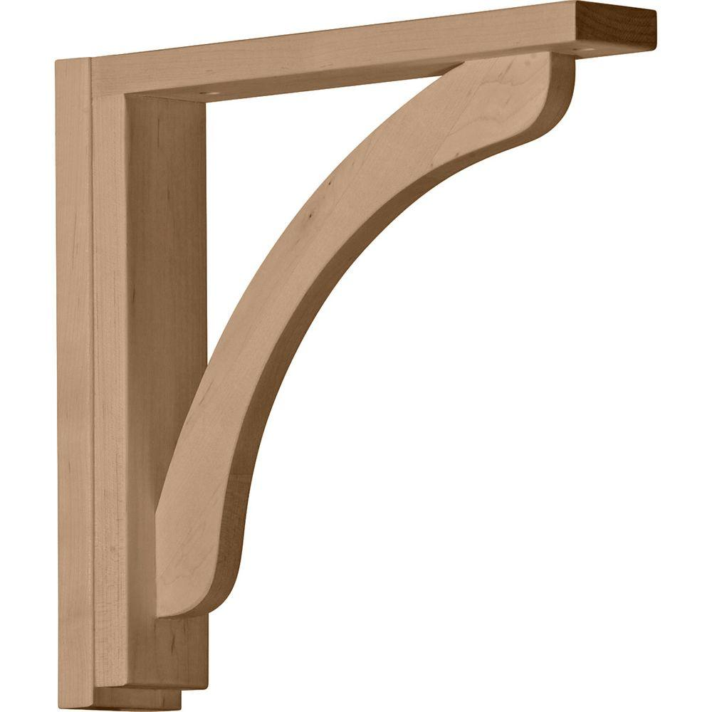 Ekena Millwork 2-1/2 in. x 12-3/4 in. x 12-1/4 in. Rubberwood Reece Shelf Bracket
