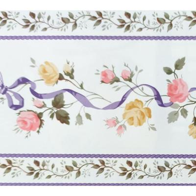 Falkirk McGhee Peel and Stick Floral Pink, Beige Flowers on Vine Self Adhesive Wallpaper Border