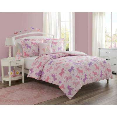 Starlight 3-Piece Pink Twin Comforter set with Decorative Pillow
