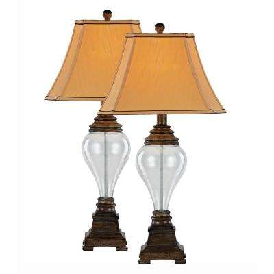 Bel air lighting table lamps lamps the home depot 305 in walnut table lamp with clear glass set of 2 aloadofball Images