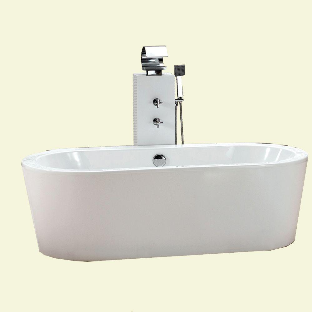 null Dreamwerks 5.5 ft. Back Drain Soaking Tub in White
