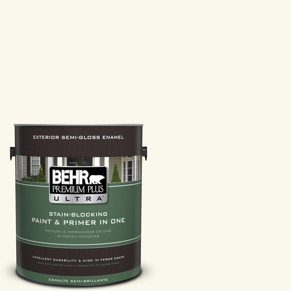 BEHR Premium Plus Ultra 1-gal. #BXC-29 Stately White Semi-Gloss Enamel Exterior Paint