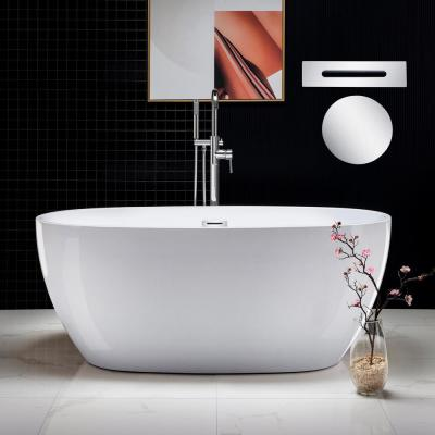 Rouen 59 in. Acrylic Flatbottom Freestanding Double Ended Bathtub with Chrome Overflow and Drain Included in White