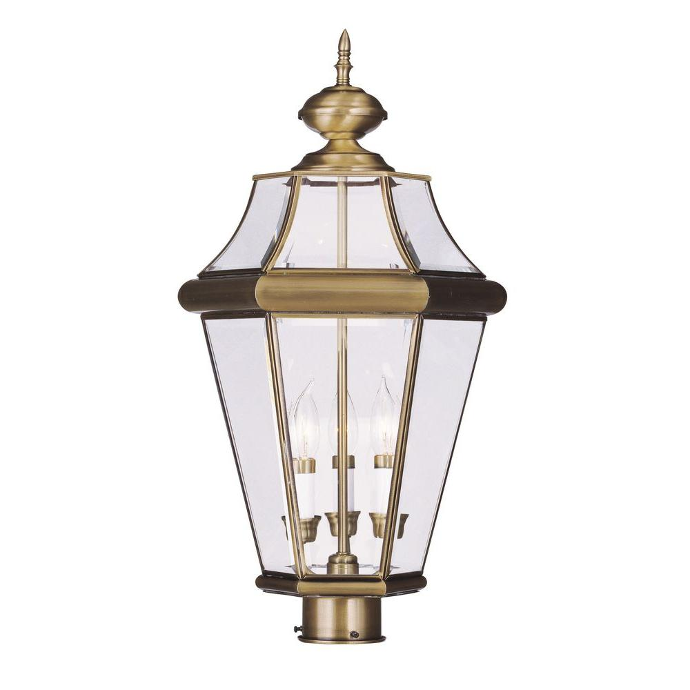Livex Lighting 3 Light Outdoor Antique Brass Post Head With Clear Beveled Glass