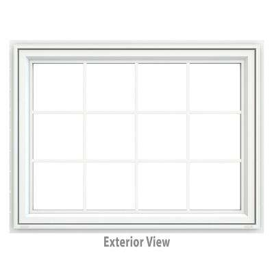 47.5 in. x 35.5 in. V-4500 Series Awning Vinyl Window with Grids - White