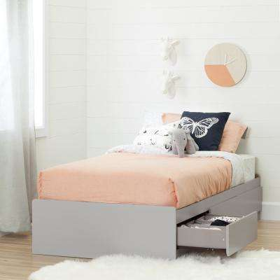 Cookie 3-Drawer Soft Gray Twin-Size Storage Bed