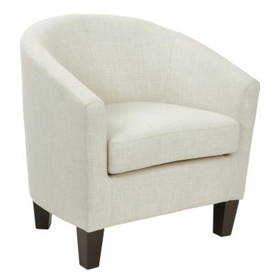Tub Linen Fabric Chair with Dark Espresso Wood Legs