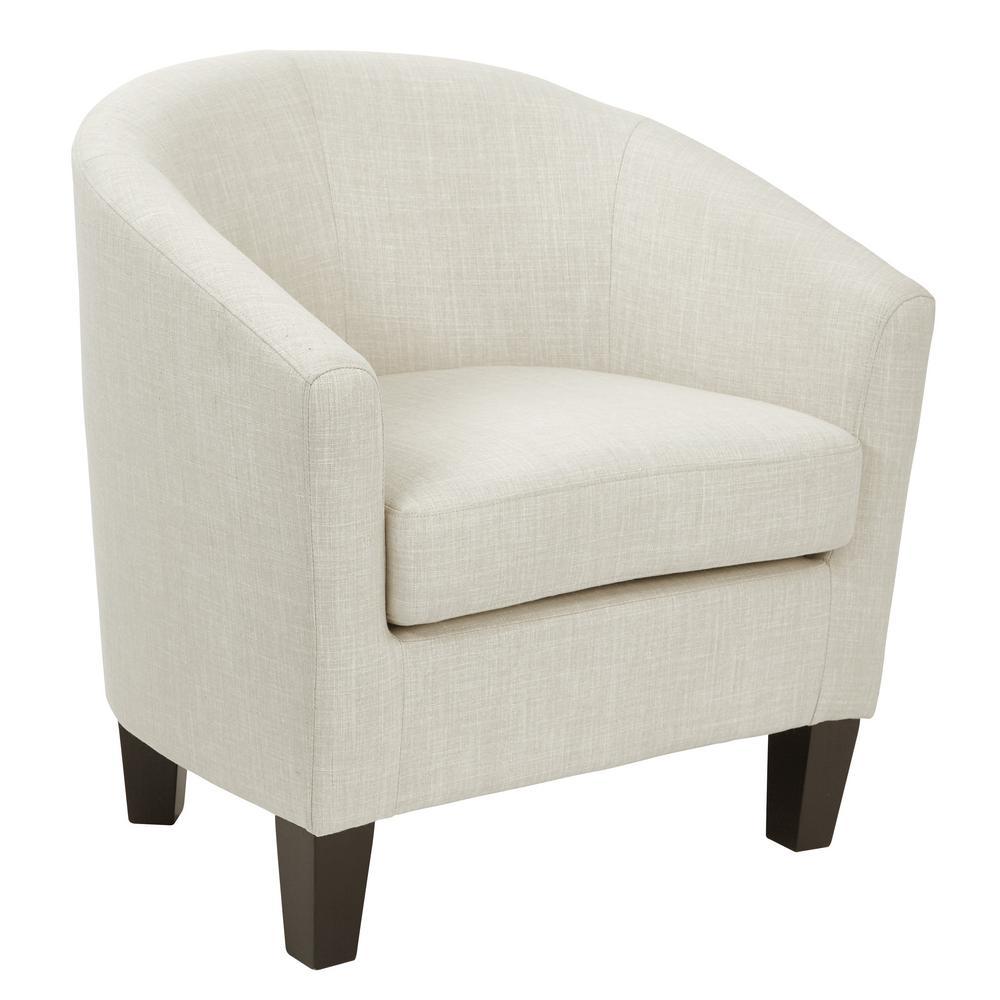 Tub Linen Fabric Chair with Dark Espresso Wood Legs