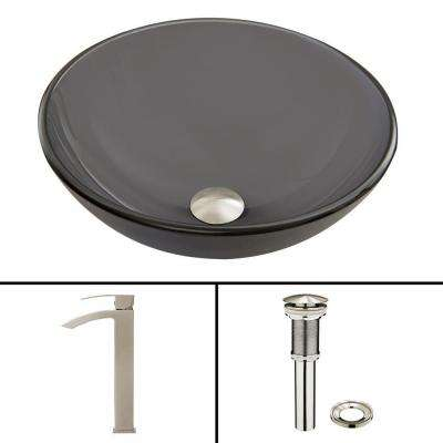 Glass Vessel Sink in Sheer Black Frost and Duris Faucet Set in Brushed Nickel