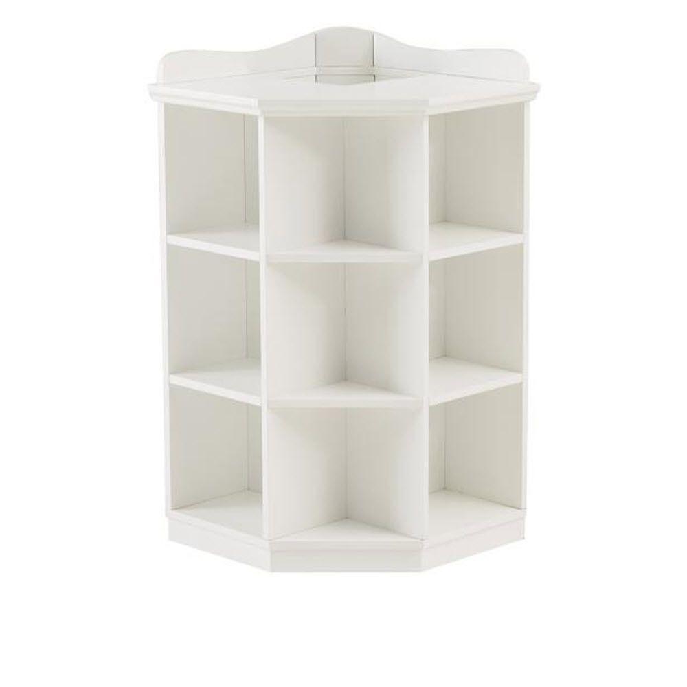 Kids 3-Shelf White Corner Book Storage