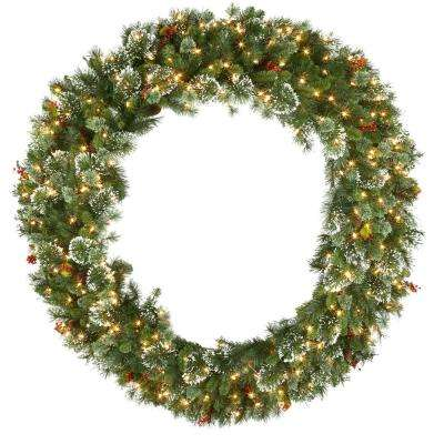 60 in. Wintry Pine Artificial Wreath with 300 Clear Lights