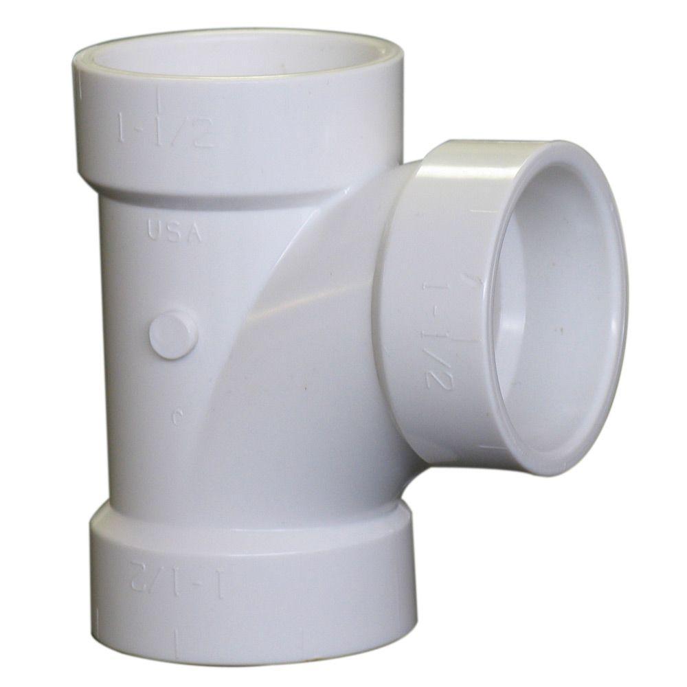 1-1/2 in. PVC DWV All-Hub Sanitary Tee (Bag of 10)