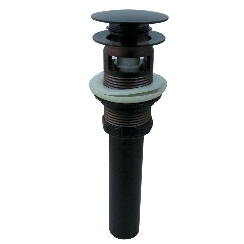 Kingston Brass Push Pop Up Bath Drain With Overflow In Oil Rubbed  Bronze HEVW6005   The Home Depot