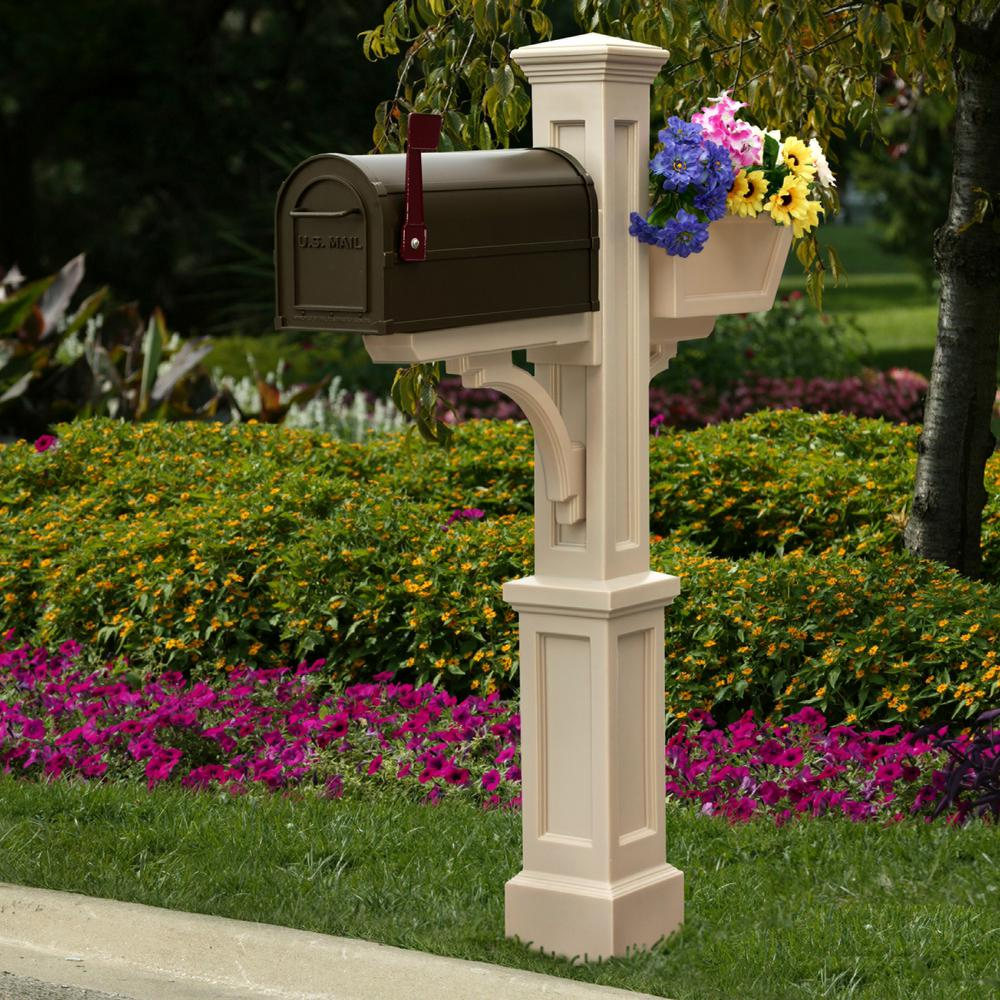 Westbrook Plus Plastic Mailbox Post, Clay