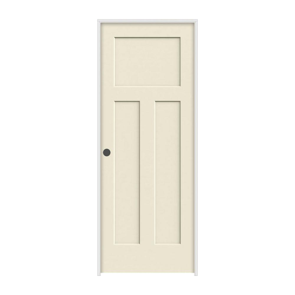 JELD-WEN 28 in. x 80 in. Craftsman Primed Right-Hand Smooth Solid Core Molded Composite MDF Single Prehung Interior Door