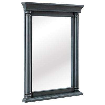 Strousse 24 In W X 32 In H Framed Wall Mirror In Distressed Blue Fog