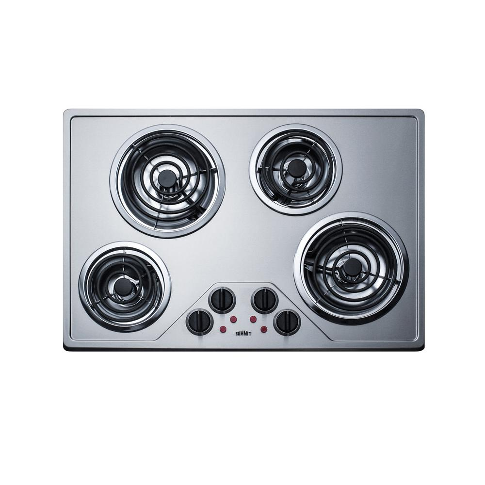 30 in. Coil Top Electric Cooktop in Stainless Steel with 4