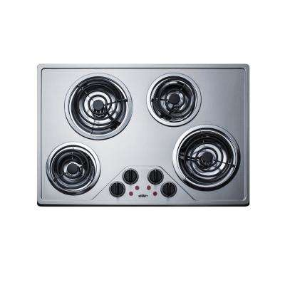 30 in. Coil Top Electric Cooktop in Stainless Steel with 4 Elements
