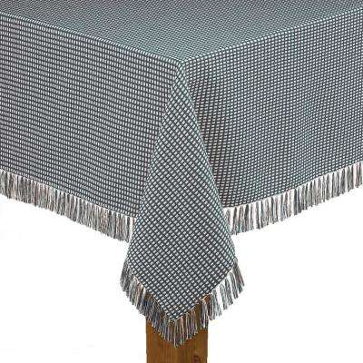 Homespun Fringed 60 in. x 102 in. Hunter Green 100% Cotton Tablecloth