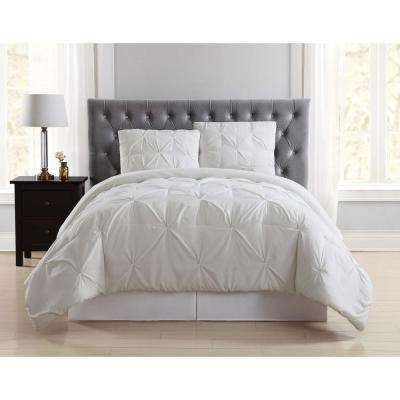 Everyday Pleated Ivory Twin XL Comforter Set