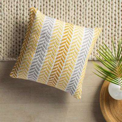 Altair 18 in. x 18 in. Yellow Decorative Chevron Pillow
