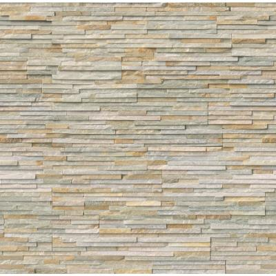 Golden Honey Pencil Ledger Corner 6 in. x 6 in. x 6 in. Natural Quartzite Wall Tile (2 sq. ft. / case)