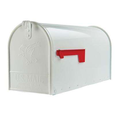 Elite Large Premium Steel Post-Mount Mailbox in White