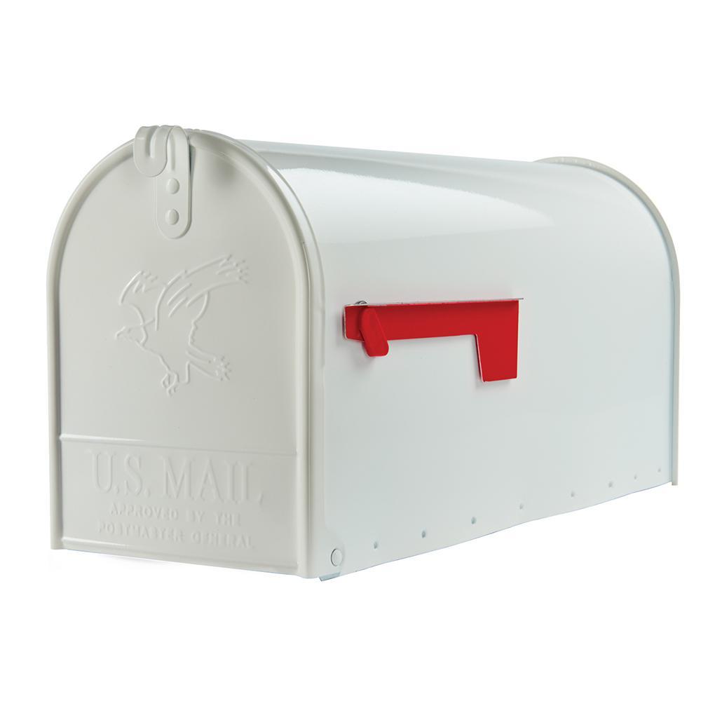 Elite Large Galvanized Steel Post-Mount Mailbox in White