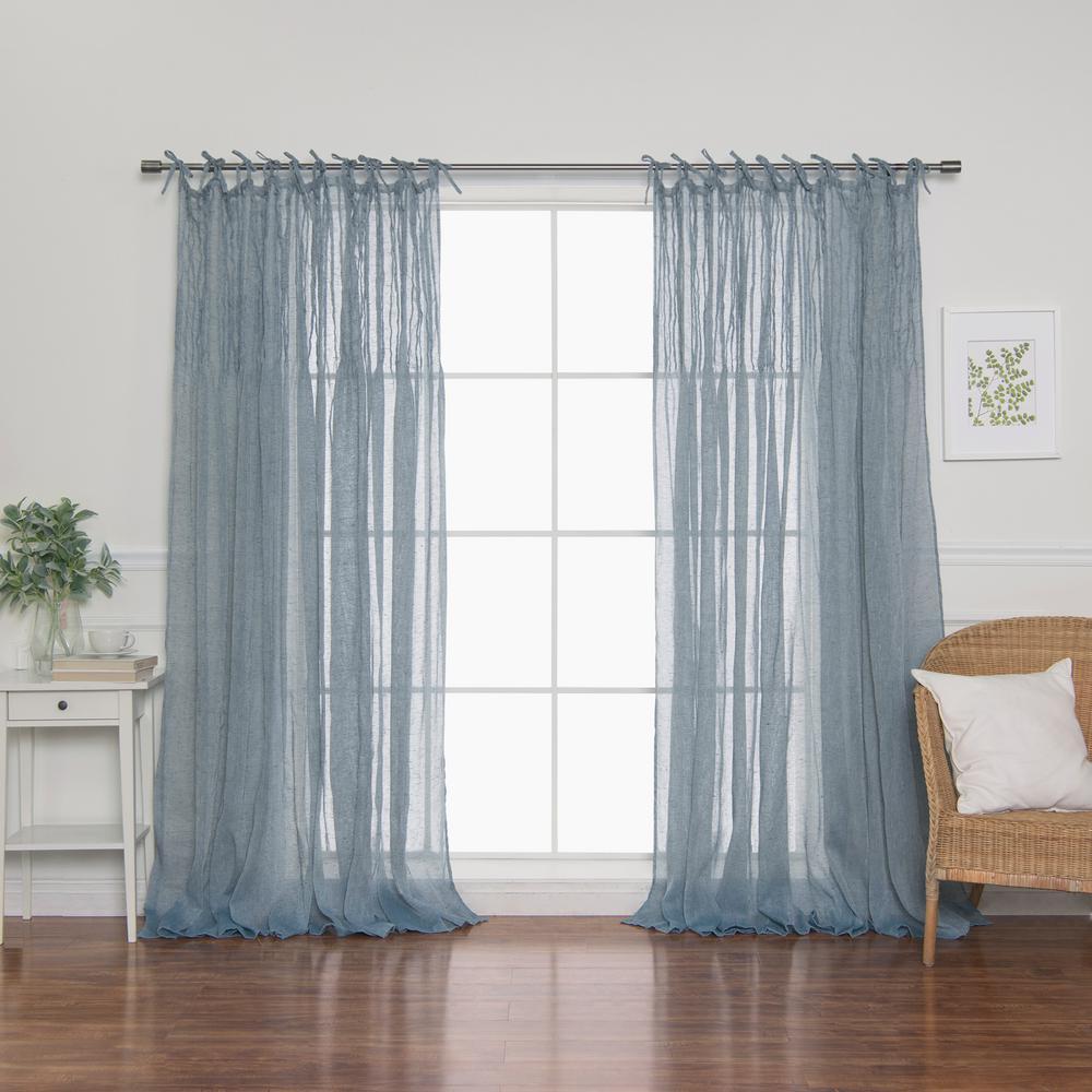 84 in. L Blue Faux Linen Tie Top Pinch Pleat Curtain