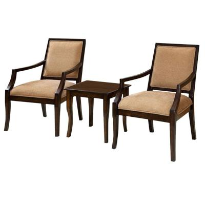 Transitional Espresso Office Chairs with Table (Set of 3)