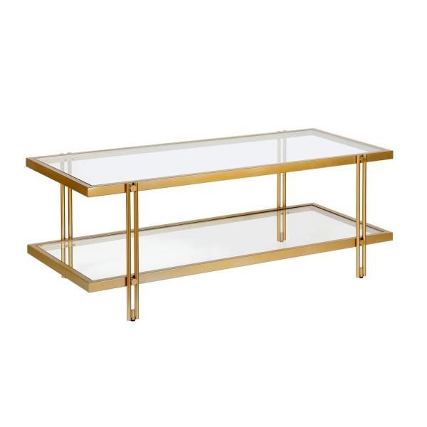 Meyer Cross Inez 45 In Brass Clear Large Rectangle Glass Coffee Table With Shelf Ct0316 The Home Depot