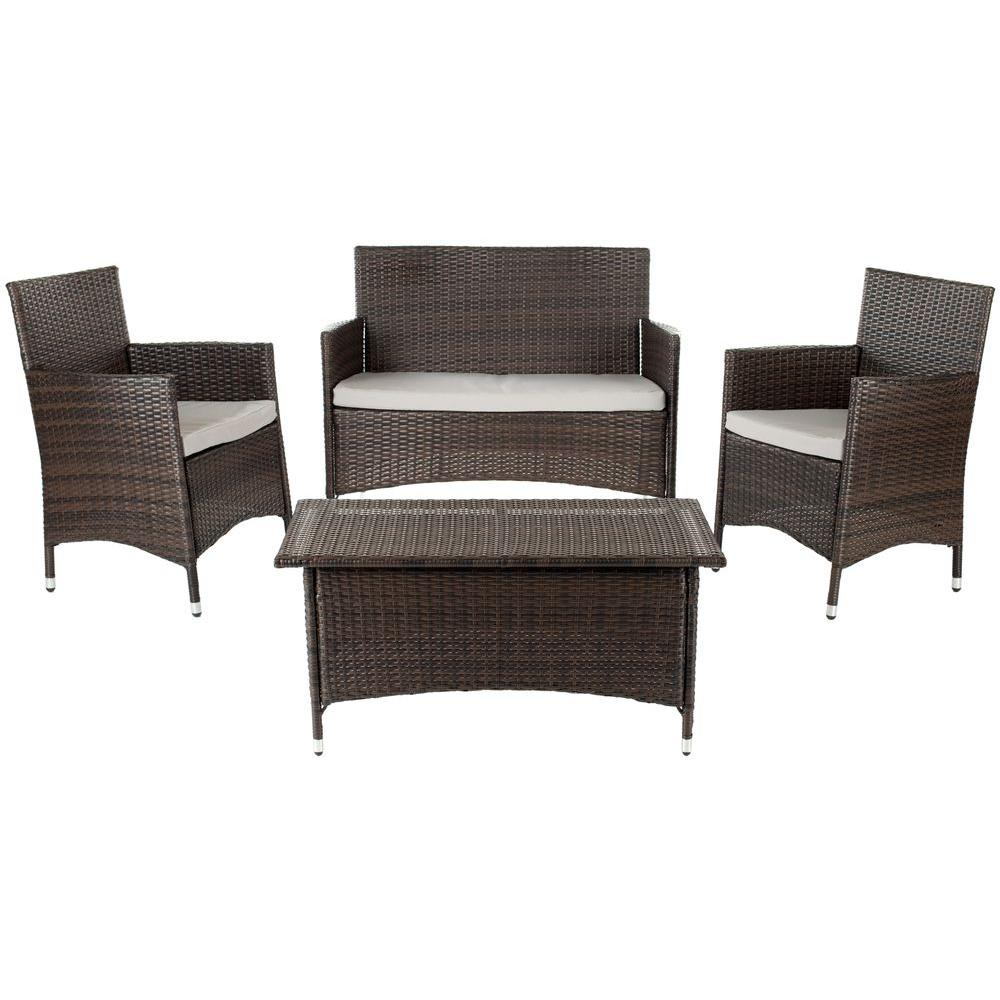 4 Piece Wicker Patio Conversation Set