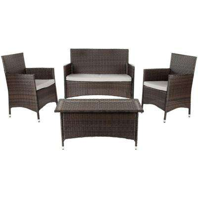 Mojavi 4-Piece Wicker Patio Seating Set with Light Gray Cushions