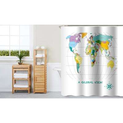 A Global View 70 in. x 72 in. Multi Color 13-Piece Fabric Shower Curtain Set