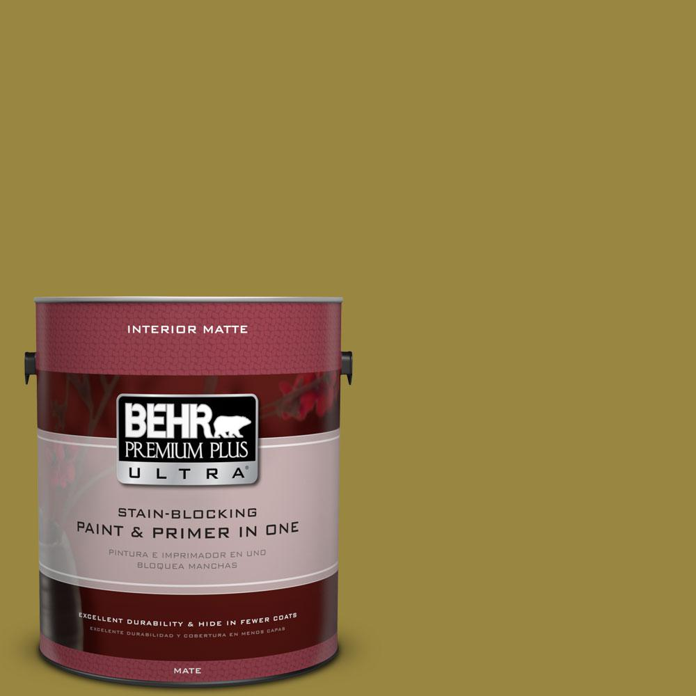 1 gal. #380D-7 Wild Grass Matte Interior Paint and Primer in