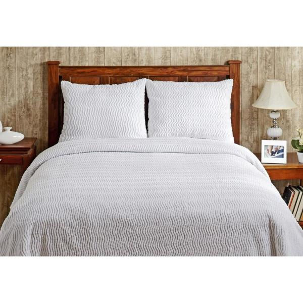 Better Trends Natick Chenille 1-Piece White King Bedspread SS-BSNAKIWH