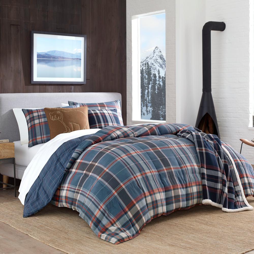 Shasta Lake 3-Piece Blue Plaid Micro Suede King Comforter Set