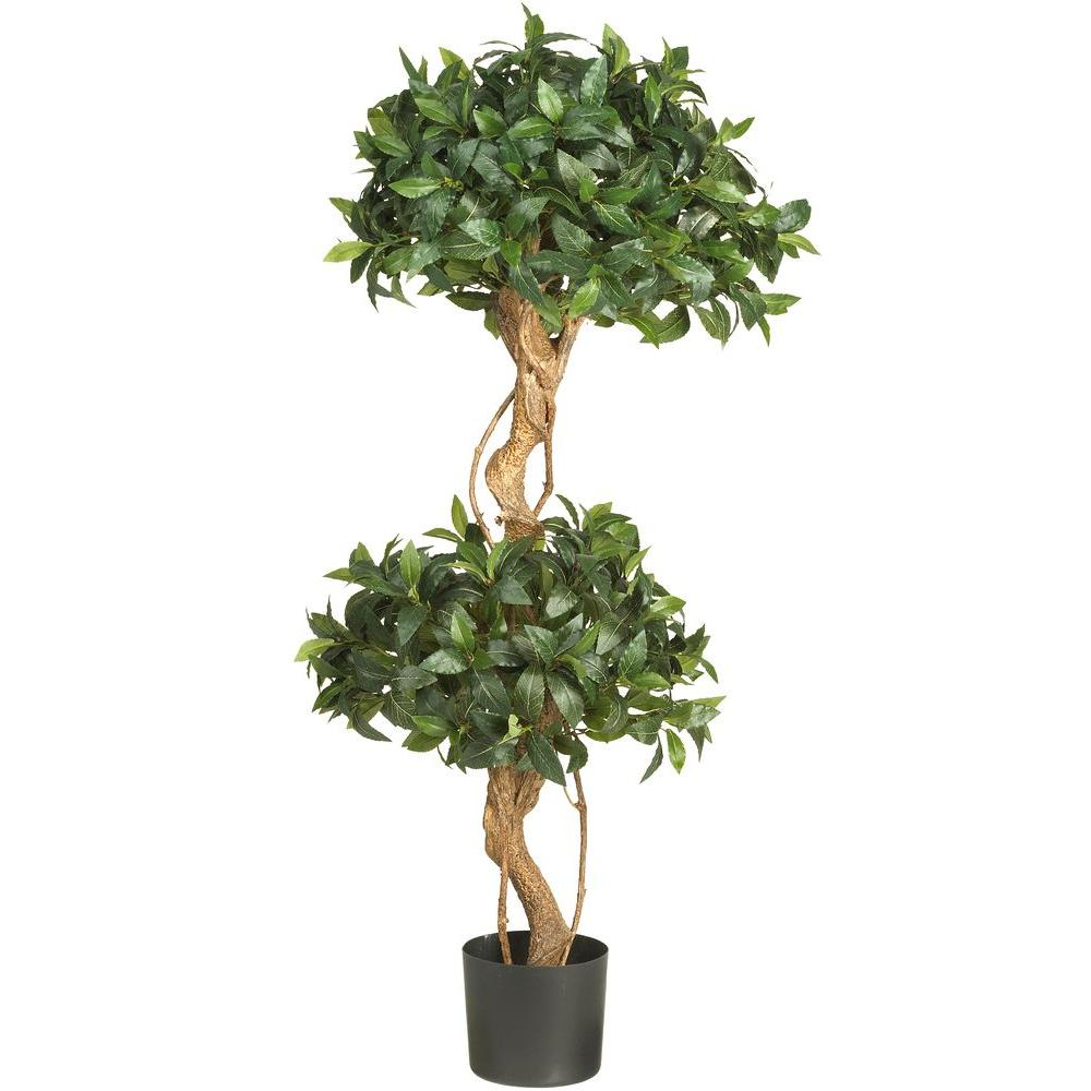 nearly natural 4 ft. sweet bay double ball topiary silk tree-5233