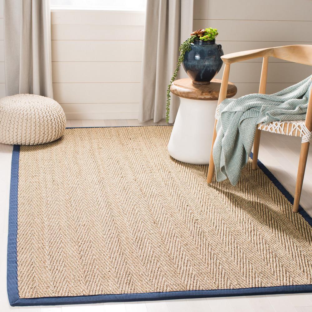 Natural Fiber Beige/Blue 8 ft. x 8 ft. Square Indoor Area Rug