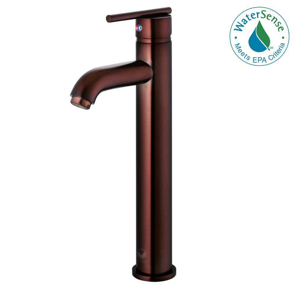 VIGO Single Hole Single-Handle Low-Arc Vessel Bathroom Faucet in ...