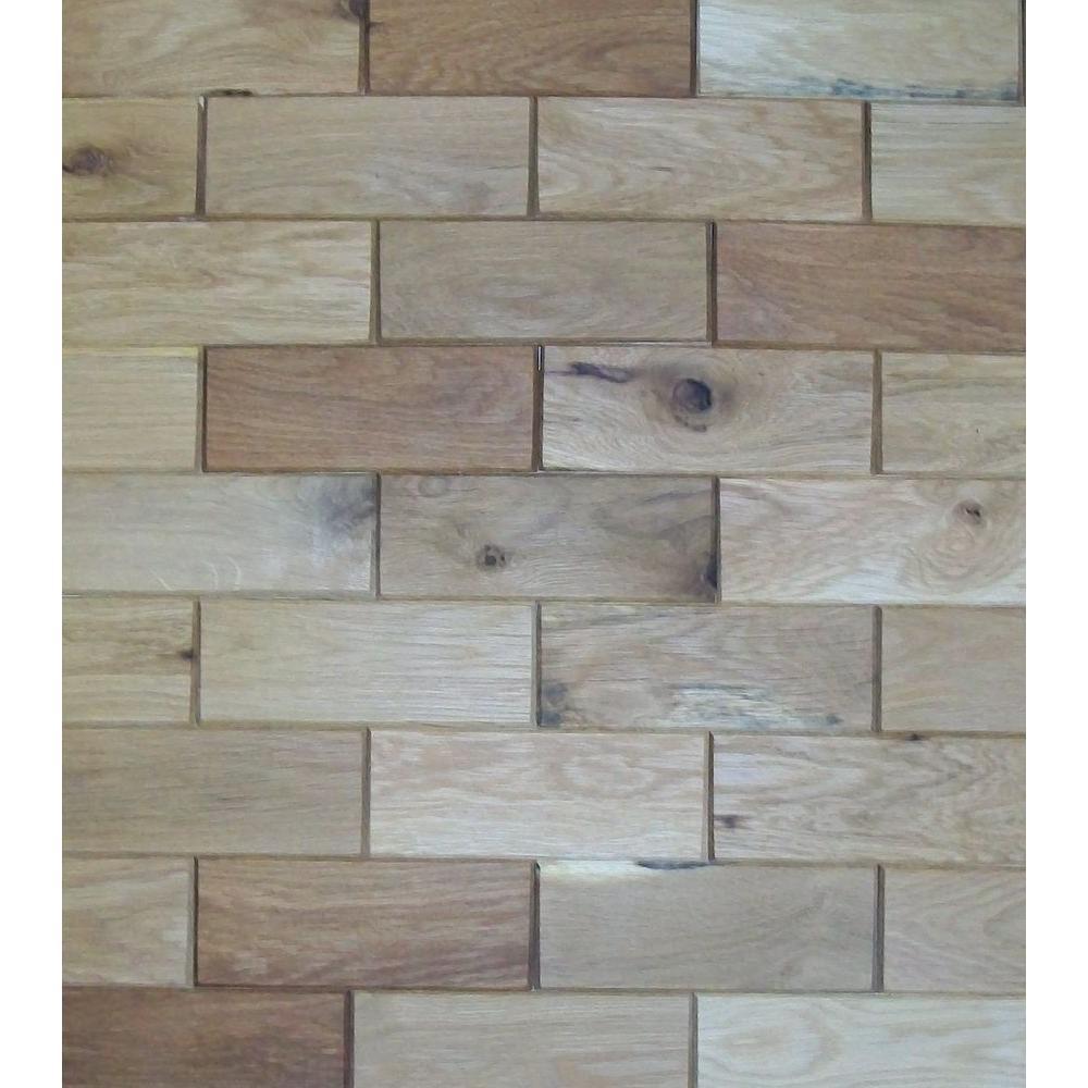 Rustix Woodbrix 3 in. x 8 in. Prefinished White Oak Wooden Wall Tile