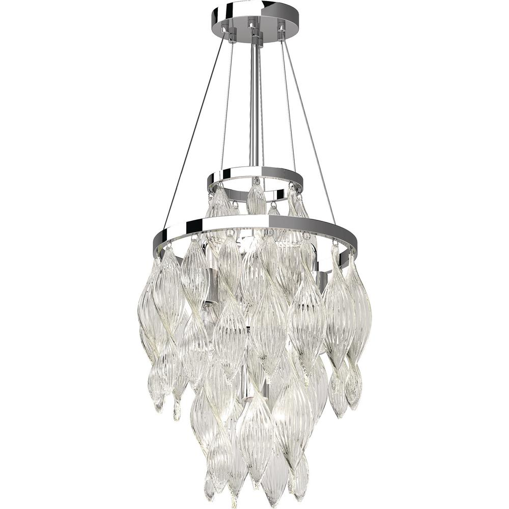 Genevieve 4 light chrome indoor semi flush mount ceiling fixture with cascading spiraling twisted art glass